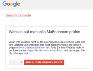 Search Console manuelle Maßnahme
