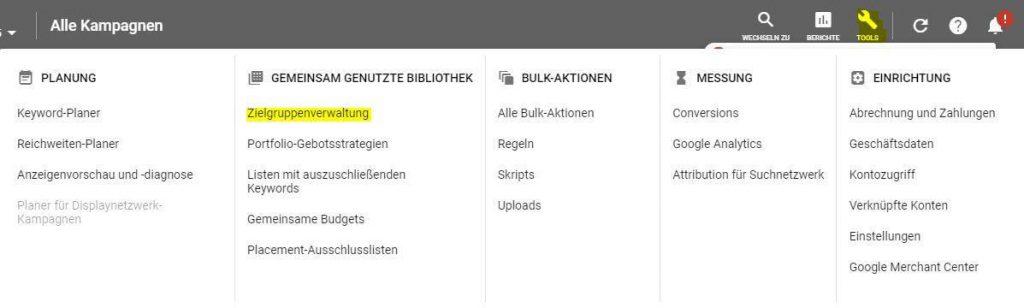 Zielgruppen Verwaltung Google Ads