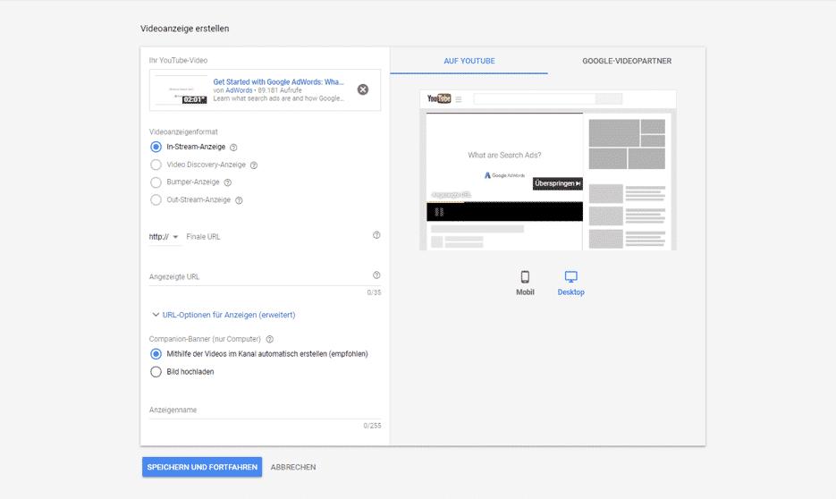 Youtube Adwords Kampagne-Setup 8